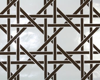 Retro Wallpaper by the Yard 70s Vintage Wallpaper - 1970s Brown and White Lattice Geometric