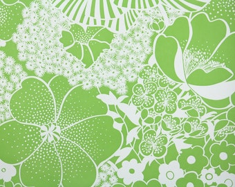 Retro Wallpaper by the Yard 70s Vintage Wallpaper - 1970s Green and WhiteTropical Floral