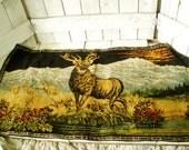 Vintage rug tapestry stag elk deer mountain landscape