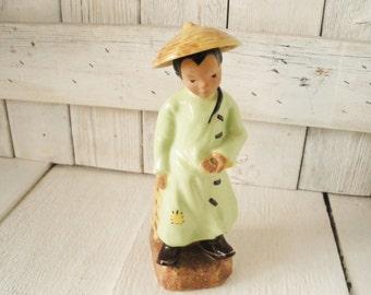 Vintage vase McCarty Bros Asian boy ceramic figurine 1948