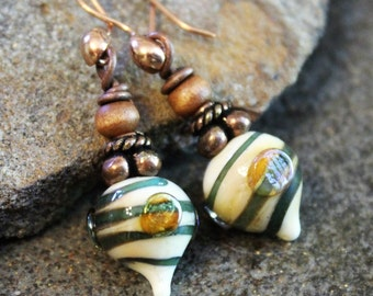 Green Swirl Art Glass Earrings, Copper & Wood, Handcrafted, Boho, Handmade, Lampwork Jewelry, Fall Earrings, Women's Gift, Unique