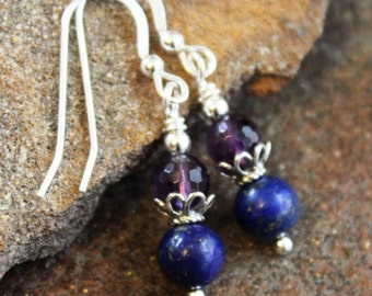 Faceted Amethyst & Blue Lapis Lazuli Earrings, Sterling Silver