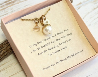 Personalized Gold Acorn Necklace with Bridesmaids Gift Sentiment Card