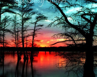 Sunset Print, Sunset, Large Wall Art, Country Home Decor, Living Room Decor,firey red, vibrant, lake, sunset, blue, water, cypress, trees,