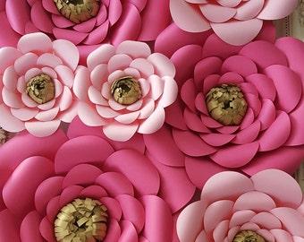 Large Paper Rose Extra Large Paper Flower Photo Prop Backdrop Set of 7 White Flower Wedding Nursery Decor