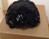 Vintage black ladies hat pill box wedding formal vintage fashion