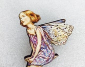 Purple Butterfly Flower Fairy Wooden Brooch Pin Birthday Gift Unique Present for Christmas Stocking Filler Victorian Childrens Book