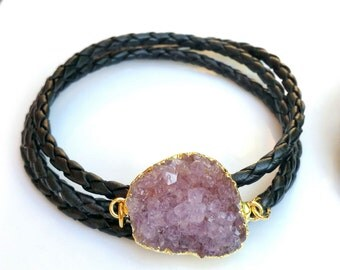 Druzy from Uruguay, Rough Amethyst Drusy on a braided plaited wrap baracelet
