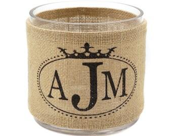 Crown Monogram Burlap Hurricane Vase