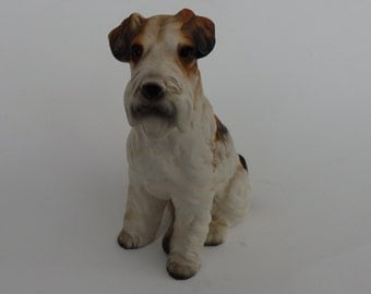 vintage Ceramic Pottery Long Haired Terrier Dog Figurine Figure  Hand Painted TILSO Terrier Dog