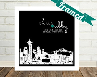 Seattle Skyline Wedding Gift Personalized Framed Art Seattle Print Seattle Wedding Gift Seattle Bride Any City Available Valentines Day Gift