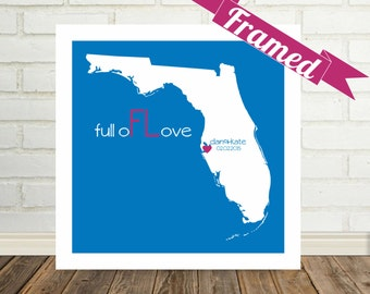FLORIDA Map Print Engagement Gift for Couple FRAMED Art Florida Wedding Valentines Day Gift Personalized Wedding Gift for Bride Gift for Him