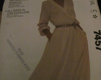 Vintage McCALL'S Easy FIT/SEW Pattern #7457...sz.6/8...pullover dress ...80's....#35....