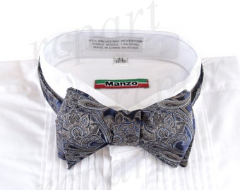 New Micro Fiber Men's Paisley Self-Tie Bow tie & hankie, Formal Occasions (569D)