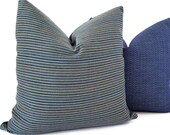 Navy Outdoor Pillow - Sunbrella Striped Pillows - Sunbrella Outdoor Cushions - Outdoor Pillows - Sunbrella Fabric - Outdoor Toss Pillows
