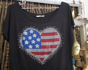 Bow Knotted Front Black Top - Bright Rhinestones over US Flag Influenced Heart Shape, Vintage - Medium