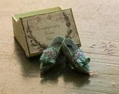 Miniature silk shoes - aqua green silk -  silk bow and lace