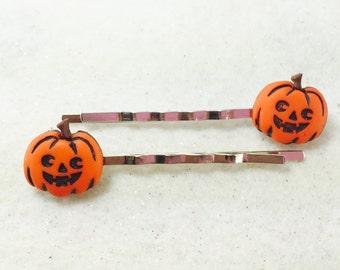 Autumn Hair Pins, Fall Bobby Pins, Fall Hair Pins, Girls Pumkpkin Patch Hair Pins, Halloween Jack o Lantern hair pins, Pumpkin Hair Pins