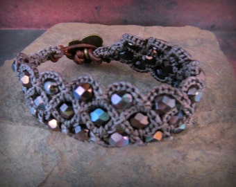 Bohemian Beaded Cuff Bracelet, dark brown and amethyst, Rustic Gypsy Boho chic, Crochet Jewelry