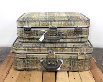Vintage Skyway luggage, Vintage suitcase luggage, Plaid suitcase, Fabric suitcase