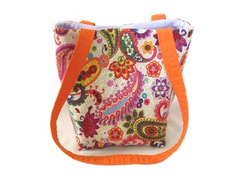 Paisley Purse, Small Tote Bag, Handmade Handbag, Floral Cloth Purse, Purple, Orange, Pink, Yellow, Flowers, Fabric Bag, Teen Purse