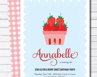 Strawberry Picnic Birthday Party Digital Invitation
