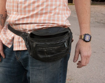 Black Leather Patchwork Fanny Pack