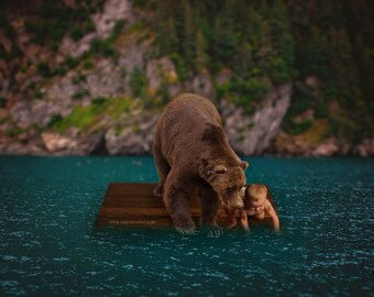 Bear Gone Fishing Digital Background and Overlay