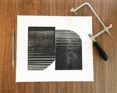 "Etching . Minimalist Art  . Geometric . Black and White: ""OTTOMAN "". Size 12"" x 14"". unframed"