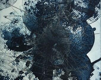 """Handmade. Fine Art Print . Original Art. Navy Blue . Abstract. """"Connectivity"""" 11"""" x 13"""""""