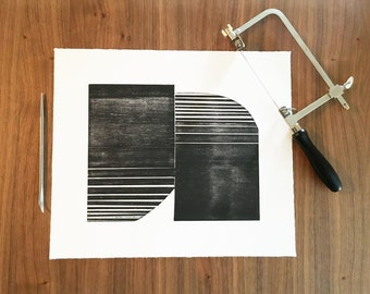 "Etching . Minimalist Art  . Geometric . Black and White: ""OTTOMAN "". Size 12"" x 14"". unframed"