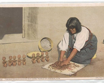 "New Mexico, Vintage Postcard,  ""Tesuque Woman making Rain Gods, Pueblo of Tesuque, N.M.,""  1920, #836."