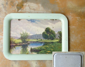 Vintage Metal Tray, Mint Green Nature Pastoral Lake Scene 1950s TV Tray Set, Artist Signed Lithograph Serving Buffet Shabby Chic Decor