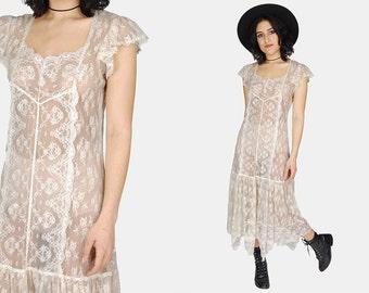 FLAPPER Ivory LACE Maxi Dress Vtg 70's Sheer Dropped DREAMY Wedding Romantic Gathered Flowy Short Sleeve Boho Hippie Midi - Medium/Large