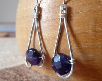 Amethyst Earrings: Sterling Silver & Amethyst Teardrop Earrings, Dangle Earrings, Abstract Earrings