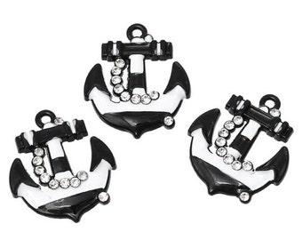 4 ANCHOR Charms, rhinestone anchor pendants, nautical theme, white, black che0416