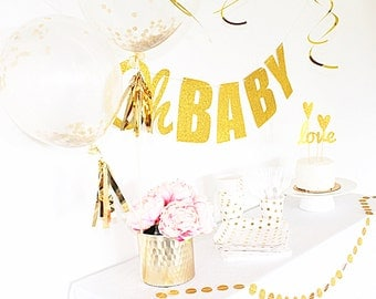 Oh Baby banner, gold Baby Shower banner, Baby Shower Decorations, Gender Neutral Baby Shower, Gender Reveal Party