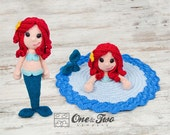 Combo Pack - Marina the Mermaid Lovey and Amigurumi Set for 5.99 Dollars - PDF Crochet Pattern Instant Download - Special Offer