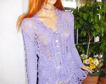 jacket handmade crochet silk jacket romantic lilac dreamy long cardigan lace fairy tale gift idea for her by golden yarn