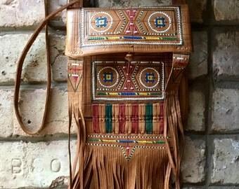 Vintage Leather Fringe Ethnic Shoulderbag  Handbag