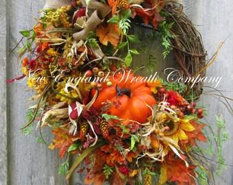Fall Wreath, Autumn Wreaths, Pumpkin Wreath, Harvest Wreath, Fall Woodland Wreath, Fall Designer Wreath