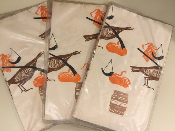 Vintage NOS Thanksgiving Turkey Themed Novelty Print Paper Table Cloth Still in Wrapper 3 Available