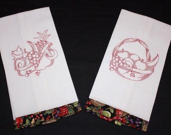 Set of Tea Towels embroidered with Vintage Fruit Baskets - redwork, magickal, kitchen, housewarming gift