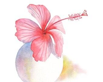 Hibiscus watercolour painting, original watercolor painting of hibiscus, pink hibiscus art, original flower painting watercolor