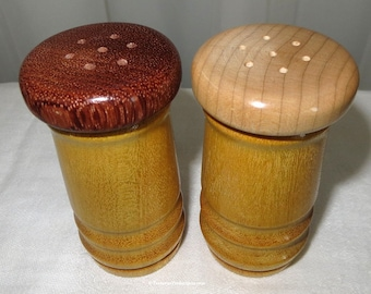 Salt and Pepper Shakers - Hand Crafted Turned Yellowheart Curly Maple and Bubinga Woods - Fifth Anniversary Wood Gift - One Pair Item 4463