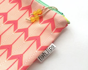 Chevron Arrows Diaper Wet Bag, Water Resistant Bikini Bag, Beach Zipper Pouch, Pink Recycled Canvas, Wipe-able Handmade Eco Gift for Moms