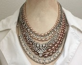 Rhinestone Statement Bib Necklace - Repurposed Unique Rhinestone Pearl Bridal Necklace - Vintage Clear Rhinestone Jewelry - JryenDesigns