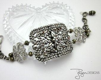 Assemblage Bracelet - Cut Steel Bracelet - France Buckle Bracelet - Rhinestone Bracelet - Unique Jewelry