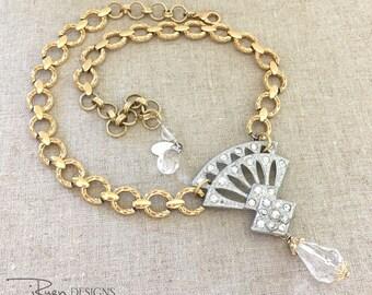 Mixed Metal Rhinestone Necklace - Vintage Repurposed Rhinestone Jewelry - Mixed Metal Statement Necklace - OOAK Repurposed Necklace