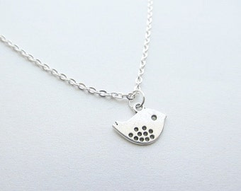 Silver Sparrow Bird Necklace